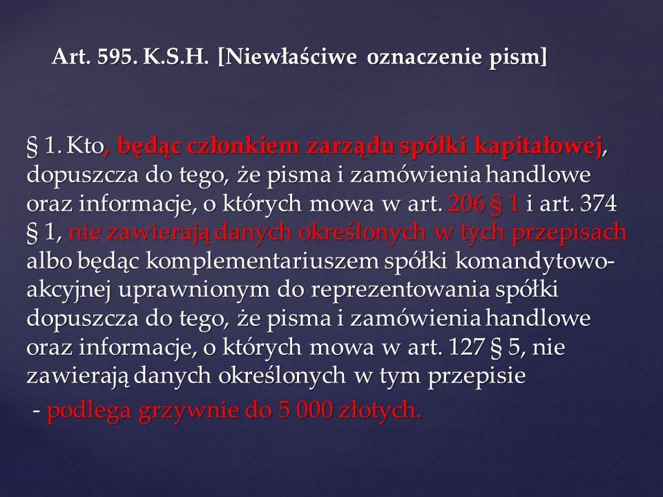 Art. 595. K.S.H. [Niewłaściwe oznaczenie pism]